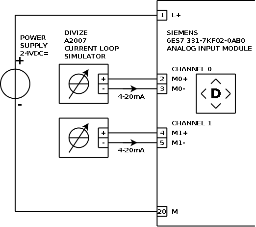 Current loop connection - DIVIZE industrial automation on ssr wiring-diagram, motion detector lights wiring-diagram, 7 round wiring-diagram, potentiometer wiring-diagram, pyrometer wiring-diagram, transducer wiring-diagram, profibus wiring-diagram, rs232 wiring-diagram, 4 wire rtd wiring-diagram, encoder wiring-diagram, 4 wire transmitter wiring-diagram, rs485 wiring-diagram, plc analog input card wiring-diagram, devicenet wiring-diagram, 24vdc wiring-diagram, usb wiring-diagram, rtd probe wiring-diagram, daisy chain wiring-diagram, rs-422 wiring-diagram,