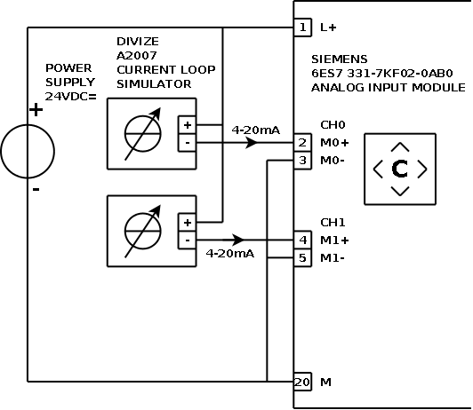hook-up diagram for a2007 current loop simulator and siemens sm331 analog  plc input in