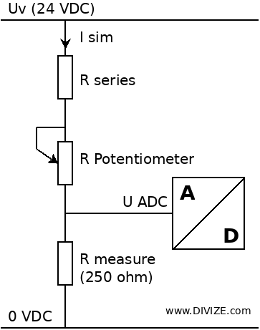 Connection diagram of potentiometer to simulate 4-20 mA signal